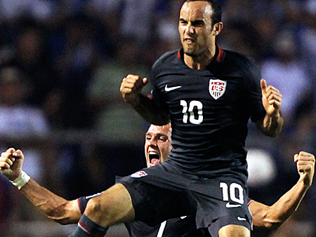 Landon Donovan and Stuart Holden celebrate after scoring against Honduras in a 2010 World Cup qualifier in San Pedro Sula, Honduras, Saturday Oct. 10, 2009. U.S. won 3-2 and clinched a berth to the World Cup finals. (AP)
