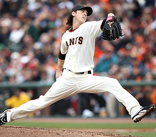 Tim Lincecum gives up four hits and three walks over three innings in San Francisco's victory. (AP)