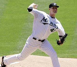 After a shaky first inning, Chris Volstad settles down and finishes with seven K's over five innings. (AP)