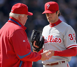 Short and painful: Cole Hamels leaves in the fourth after giving up 7 runs and 11 hits. (Getty Images)