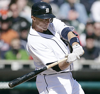 Brandon Inge caps the Tigers' six-run, eighth-inning rally with a two-run single.  (AP)