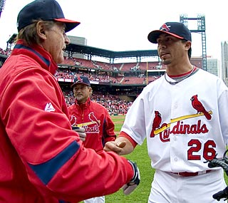 Tony La Russa definitely enjoys Kyle Lohse's standout performance against the Astros.  (US Presswire)