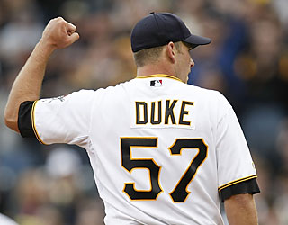 Zach Duke shows off his arm in his second start by recording his third career shutout.  (Getty Images)