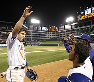 Ian Kinsler acknowledges the cheers after his triple in the sixth inning completes his cycle.  (AP)