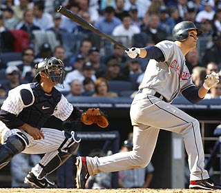 Grady Sizemore breaks it open for the Indians with the first grand slam at the new Yankee Stadium. (AP)
