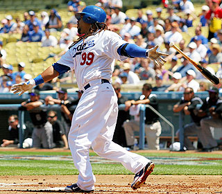 Late-arriving Dodgers fans miss Manny Ramirez's solo homer in the first inning.