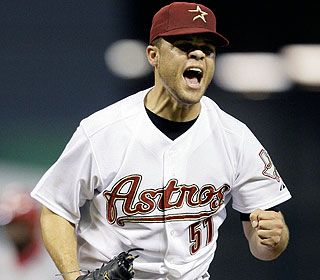 Astros starter Wandy Rodriguez strikes out 10 and allows two hits in seven shutout innings. (AP)