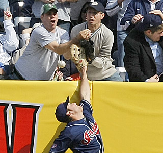 Where's Jeffrey Maier? Cleveland right fielder Trevor Crowe cries 'fan interference.'  (AP)