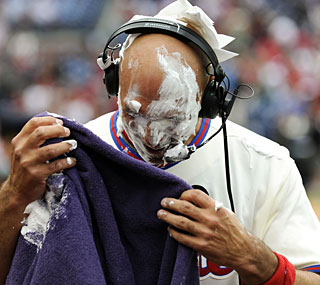 'They got me good,' Raul Ibanez says after a serving of shaving cream pie.  (US Presswire)