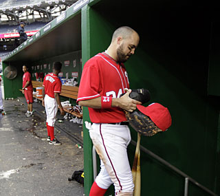 Nick Johnson and the Nationals just can't buy a win and are now 1-10 this season.  (AP)