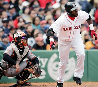 Struggling David Ortiz slaps a two-run triple and goes 2-for-4 to raise his average to .196.  (AP)
