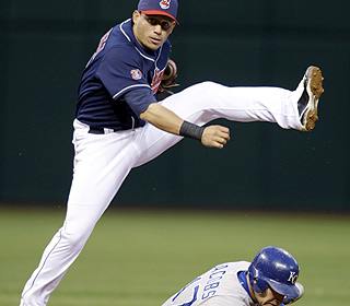 A dance step? No, it's 2B Asdrubal Cabrera turning one of Cleveland's six double plays on the night. (AP)
