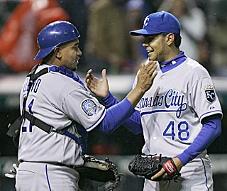 Miguel Olivo and closer Joakim Soria celebrate after finishing Kansas City's third shutout of 2009.  (AP)