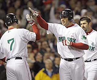 Jeff Bailey (center), the 2008 International League MVP, goes deep in his first MLB at-bat of 2009.  (AP)