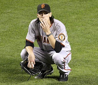 Tim Lincecum looks worried, but Eric Byrnes' double isn't ruled a home run, so he can calm down. (AP)