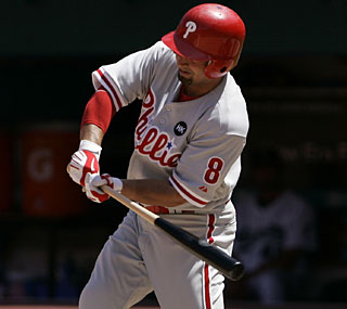 Shane Victorino drives in four runs to cap a sweep of the Marlins.  (AP)
