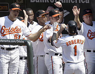 Brian Roberts hypes up his teammates after finishing with four hits, including a solo shot in the fifth.  (AP)