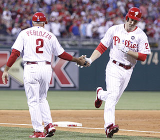 Touch 'em all: Chase Utley smacks his sixth and seventh homers and is hitting .357 on the season. (AP)