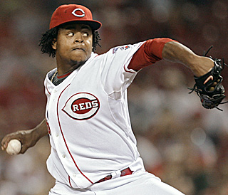 Edinson Volquez allows just one hit -- a first-inning double -- and fans six over eight innings.  (AP)