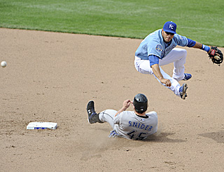 Shortstop Mike Aviles turns one of the Royals' six double plays, which ties a club record.  (Getty Images)