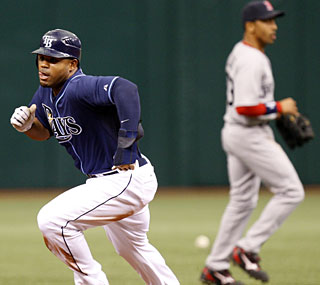 Carl Crawford is the first player since 1996 to steal six bases in one game.  (AP)