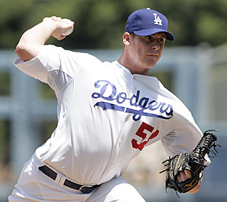Dodgers ace Chad Billingsley throws for seven solid innings and improves his record to 5-0.  (AP)