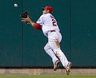Rick Ankiel goes full speed to track down Pedro Feliz's long drive in the eighth inning.