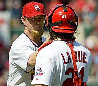 Ryan Franklin (ninth save) and Jason LaRue (go-ahead homer) enjoy another Cards victory.  (US Presswire)