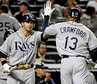 Evan Longoria and Carl Crawford, who hit the back-to-backs, enjoy the rare Mariano Rivera offerings. (AP)