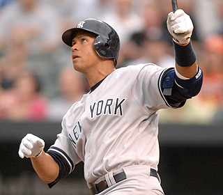 There's no doubt about this one. Alex Rodriguez drives Jeremy Guthrie's first offering for a homer.