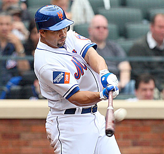 Carlos Beltran finds the second deck in left for his sixth home run to give the Mets a 7-1 lead.  (Getty Images)