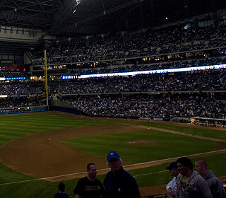 A photo trick? No, it's Miller Park after some lights mysteriously go out in the seventh inning. (US Presswire)