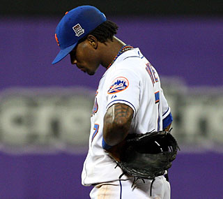 Jose Reyes' costly error in the seventh inning leads to four runs.  (Getty Images)