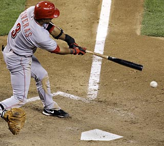 Willy Taveras has five hits, four runs scored and two RBI to lead a potent Reds attack.  (AP)
