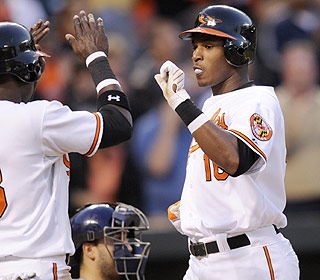 Adam Jones is coming of age this season. He has eight homers and is hitting .363 so far. (AP)