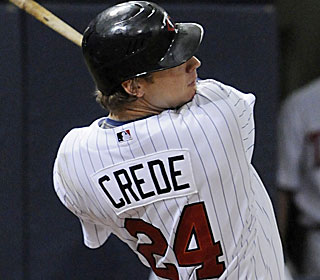 Joe Crede caps the Twins' six-run rally with a two-out, two-run single in the seventh.  (AP)