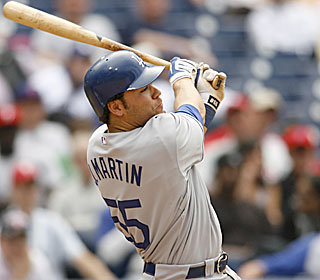 Russell Martin puts the Dodgers ahead in the 10th inning with an RBI double.  (US Presswire)