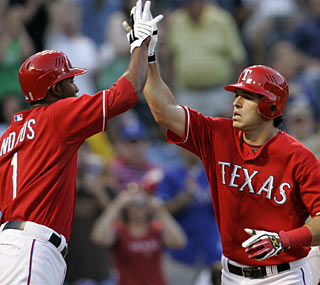 Elvis Andrus greets Ian Kinsler after the first of his two homers for the AL West-leading Rangers.  (AP)