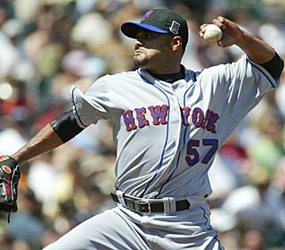 Johan Santana isn't at his best -- 4 ER in 7 IP -- but it's good enough to earn his fifth win.  (AP)