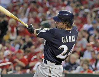 Mat Gamel unleashes his first home run in the big leagues -- a three-run shot in the third inning.  (AP)
