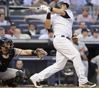 The Yanks' Melky Cabrera completes the trifecta of consecutive home runs in the second inning.  (AP)