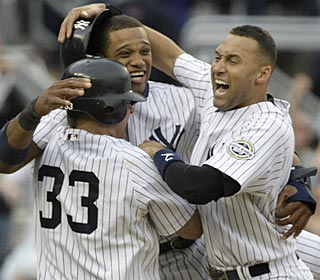 After getting three consecutive walk-off wins last weekend, the Yanks continue the trend Saturday.  (AP)
