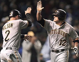 Freddy Sanchez (12) becomes the first Pirate with a six-hit game since Wally Backman did so in 1990.  (AP)