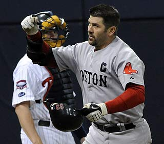 Jason Varitek does damage here with his second HR before getting ejected along with three others. (AP)