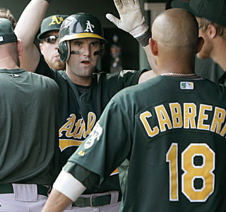 It's congrats all around in the Oakland dugout after Adam Kennedy's HR off Rangers closer Frank Francisco.  (AP)
