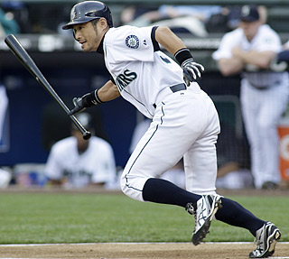 Ichiro Suzuki's first-inning single sets the franchise record with a hit in his 26th straight game.  (AP)