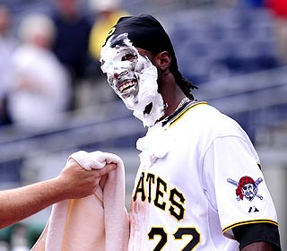 Andrew McCutchen experiences the clubhouse ritual after going 2-for-4 with a walk, an RBI and a stolen base. (AP)