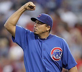 'I have a decent swing right-handed and left-handed,' Carlos Zambrano says after his solo shot.  (AP)