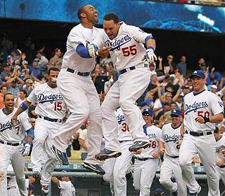 It's pandemonium in Chavez Ravine as the Blue Crew celebrates another dramatic win over Philly.