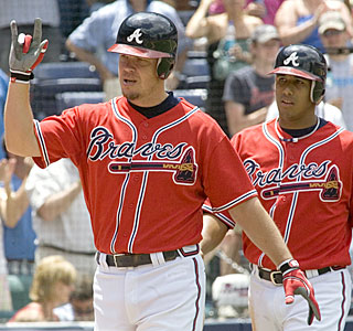 Chipper Jones puts together his 39th career game with multiple home runs and drives in five runs.  (AP)